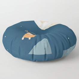 Fly to the moon _ navy blue version Floor Pillow