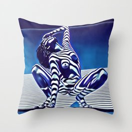 9124s-KMA Powerful Nude Woman Open and Free Striped in Blue Throw Pillow