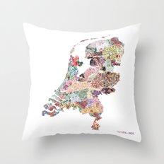 Netherlands map Throw Pillow