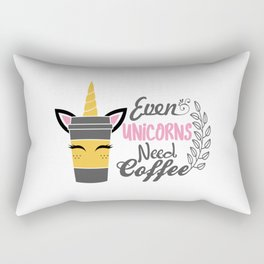 Even Unicorns Need Coffee Rectangular Pillow