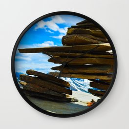 Inukshuk on Whistlers Mt in Jasper National Park, Canada Wall Clock