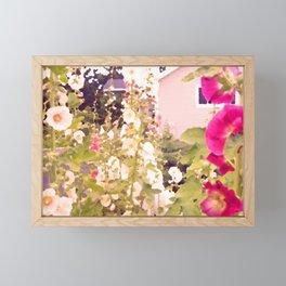 Pink Hollyhock Cottage Framed Mini Art Print