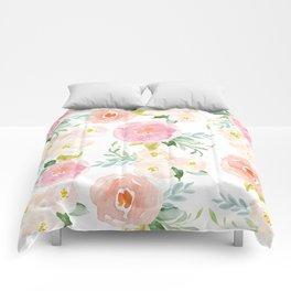 Sweet Pink Blooms (Floral 02) Comforters