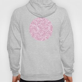 Tropical Leaves Pattern - White on Pink Hoody
