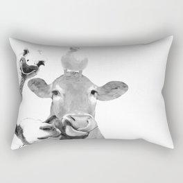 Black and White Farm Animal Friends Rectangular Pillow