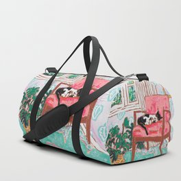 Little Naps - Tuxedo Cat Napping in a Pink Mid-Century Chair by the Window Duffle Bag