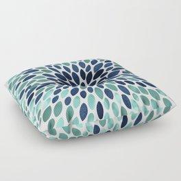 Flower Bloom, Aqua and Navy Floor Pillow