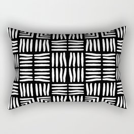 Geometric Black and White Tribal-Inspired Woven Pattern Rectangular Pillow