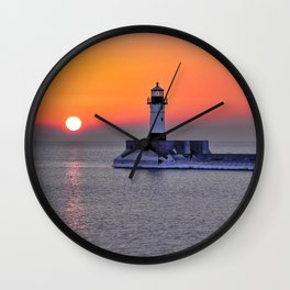 Duluth Harbor North Breakwater Lighthouse Wall Clock