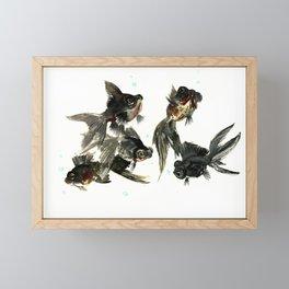 Black Moor, Feng Shui Art, design black fish art, aquarium Framed Mini Art Print