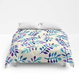 Hand Painted Purple & Aqua Leaf Pattern on Cream Comforters