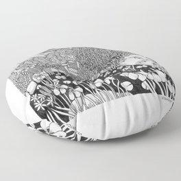 Zentangle Vermont Landscape Black and White Illustration Floor Pillow