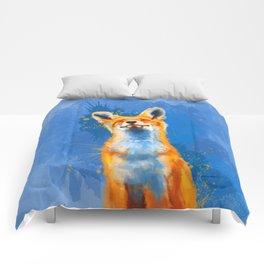 Happy Fox, inspirational animal art Comforters