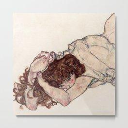 Kneeling Girl, Resting on Both Elbows Metal Print