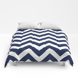 Space cadet - blue color - Zigzag Chevron Pattern Comforters