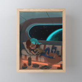 Nap in Space Framed Mini Art Print