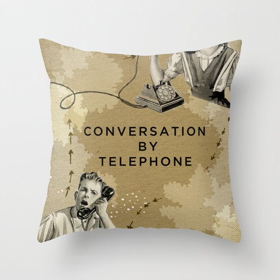Conversation by Telephone Throw Pillow