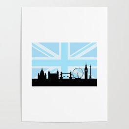 London Sites Skyline and Blue Union Jack/Flag Poster