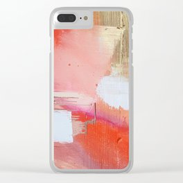 Moving Mountains: a minimal, abstract piece in reds and gold by Alyssa Hamilton Art Clear iPhone Case