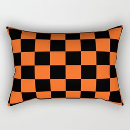 Black and Orange Checkerboard Pattern Rectangular Pillow