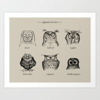 Art Prints featuring Caffeinated Owls by Dave Mottram