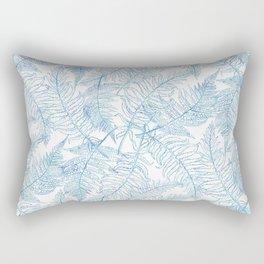 Fern Silhouette Blue Rectangular Pillow