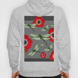 EMERALD GREEN DRAGONFLIES & RED POPPY FLOWERS GREY ART Hoody