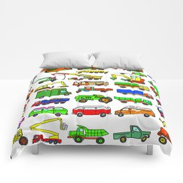 Doodle Trucks Vans and Vehicles Comforters