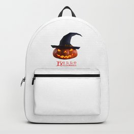 Halloween pumpkin wear a witch's hat. Backpack