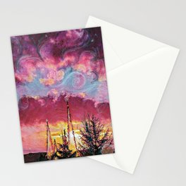 Sunset with swirls and crystal towers Stationery Cards