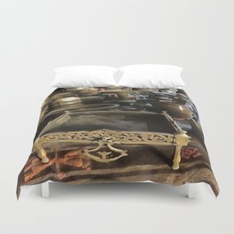 Handcrafted Tin And Copper Kitchenwares Duvet Cover
