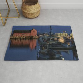 Moonlit Rockport Harbor Rug