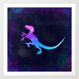 VELOCIRAPTOR IN SPACE // Dinosaur Graphic Art // Watercolor Canvas Painting // Modern Minimal Cute Art Print