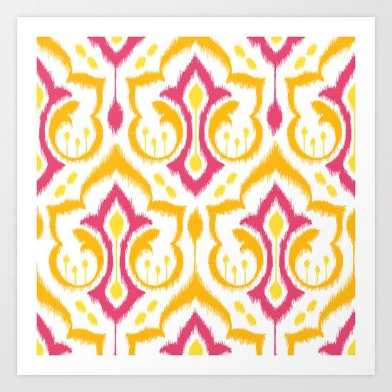 Ikat Damask - Berry Brights Art Print