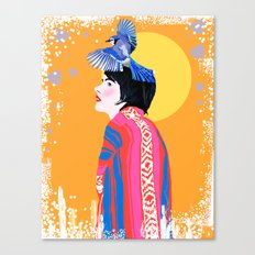 Blue Jay Desert Woman Canvas Print