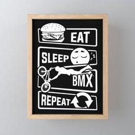 Eat Sleep BMX Repeat - Bike Cycling Stunt Bike Framed Mini Art Print