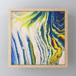 Feathery abstract acrylic art in blue yellow and white Framed Mini Art Print