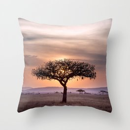 Lonely Tree At Sunset In African Savannah Ultra HD Throw Pillow