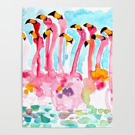 Welcome to Miami - Flamingos Illustration Poster