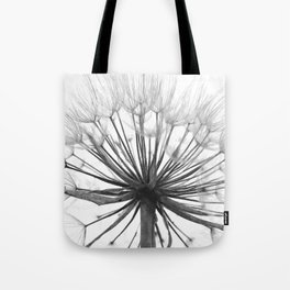 Black and White Dandelion Tote Bag