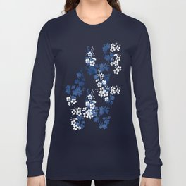 Sakura blossom in deep blue Long Sleeve T-shirt