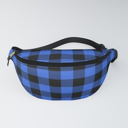 Royal Blue and Black Lumberjack Buffalo Plaid Fabric Fanny Pack