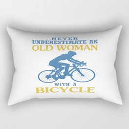 OLD WOMAN WITH A BICYCLE Rectangular Pillow