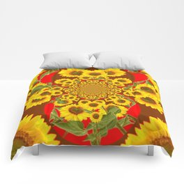 BROWN-RED SUNFLOWERS ABSTRACT Comforters