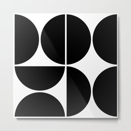 Mid Century Modern Black Square Metal Print