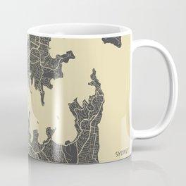 Sydney map yellow Coffee Mug