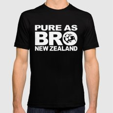 Pure as BRO  New Zealand Kiwi Mens Fitted Tee LARGE Black