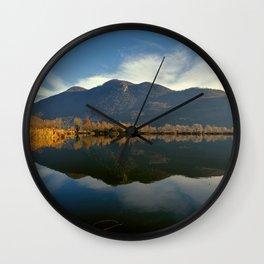 winter reflection on landscape lake Wall Clock