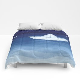 Paper boats illustration Comforters