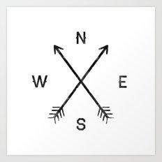 Compass (White) Art Print